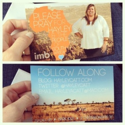 Hayley's Prayer Card as she heads to SA :)