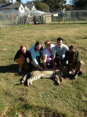Savanna, Me, Katie, and Caleb with the Cheetah