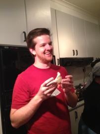 Caleb with his samosa