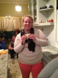 Katie with her samosa